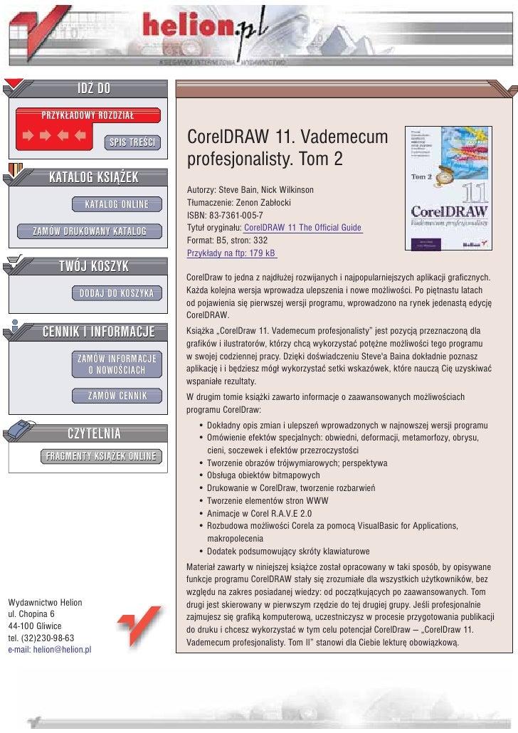 IDZ DO          PRZYK£ADOWY ROZDZIA£                             SPIS TRE CI   CorelDRAW 11. Vademecum                    ...