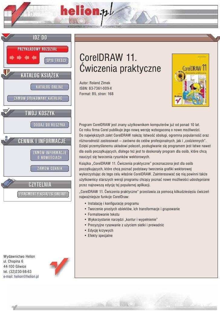 IDZ DO          PRZYK£ADOWY ROZDZIA£                             SPIS TRE CI   CorelDRAW 11.                              ...