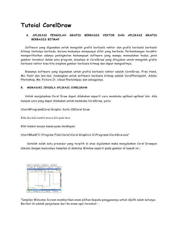 Tutoial CorelDraw     A.    APLIKASI PENGOLAH            GRAFIS   BERBASIS   VEKTOR    DAN    APLIKASI    GRAFIS          ...