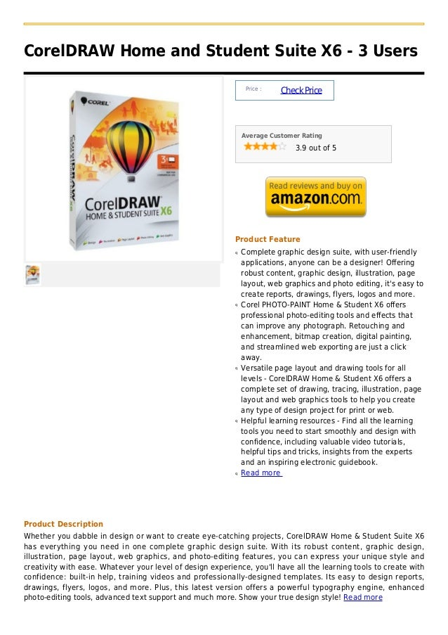 CorelDRAW Home and Student Suite X6 - 3 Users                                                                Price :      ...
