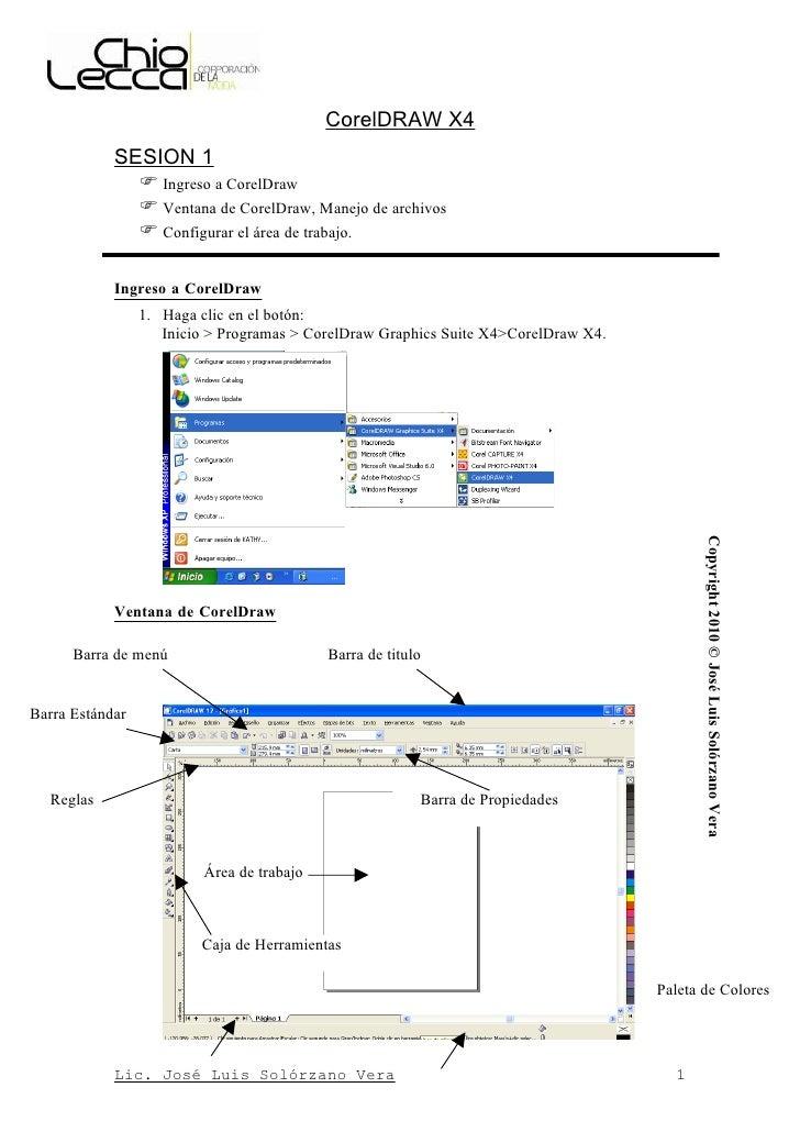 CorelDRAW X4             SESION 1                Ingreso a CorelDraw                Ventana de CorelDraw, Manejo de arch...