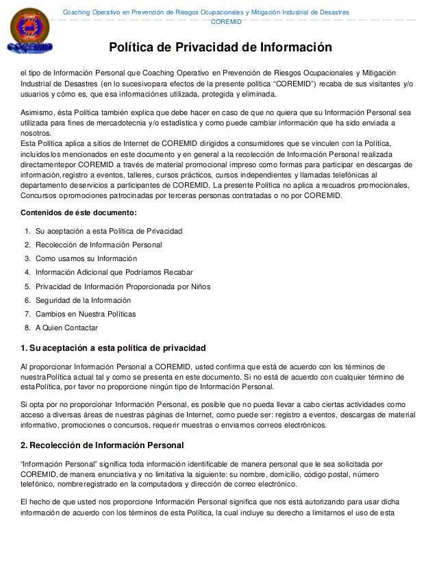 Coaching Operativo en Prevención de Riesgos Ocupacionales y Mitigación Industrial de Desastres COREMID Política de Privaci...