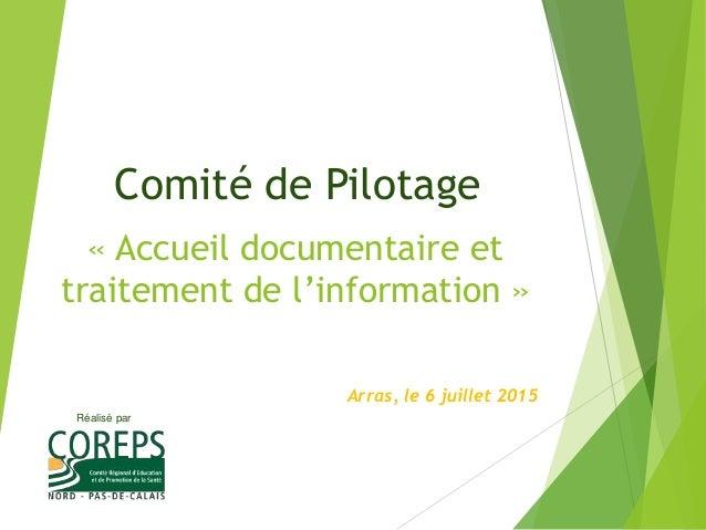 Réalisé par « Accueil documentaire et traitement de l'information » Arras, le 6 juillet 2015 Comité de Pilotage