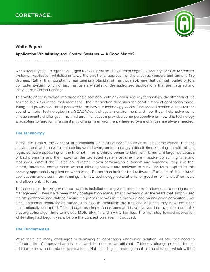 CoreTrace Whitepaper: Whitelisting And Control Systems
