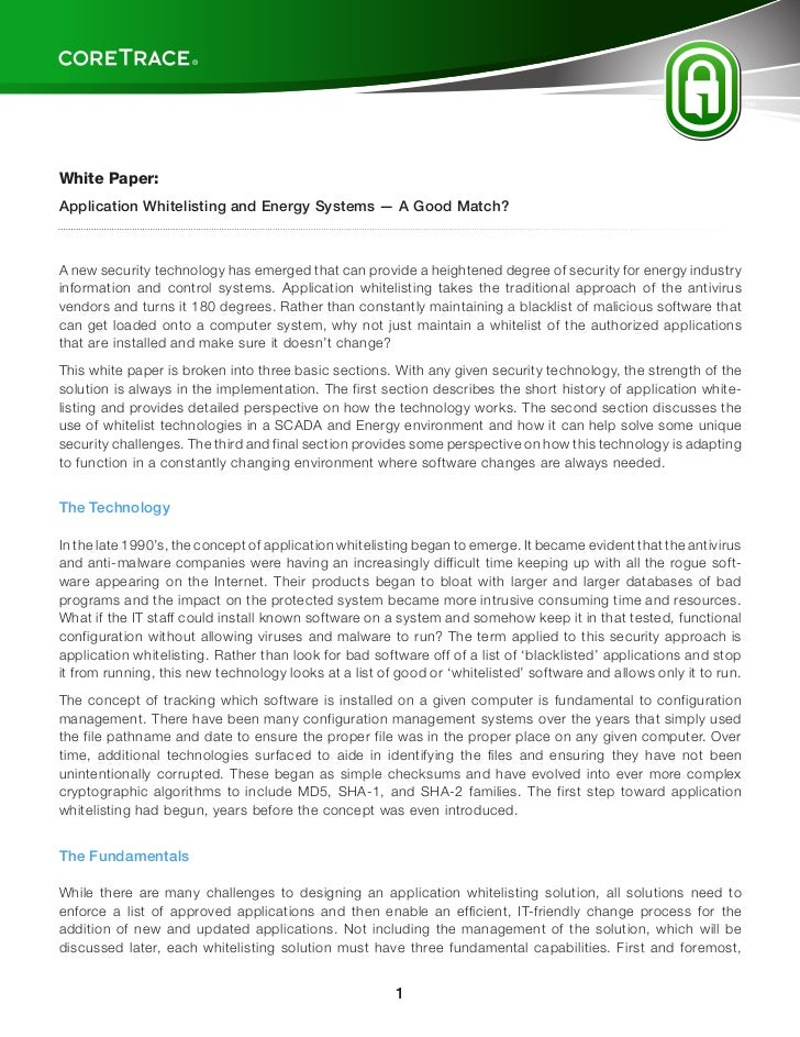 CoreTrace Whitepaper: Application Whitelisting And Energy Systems