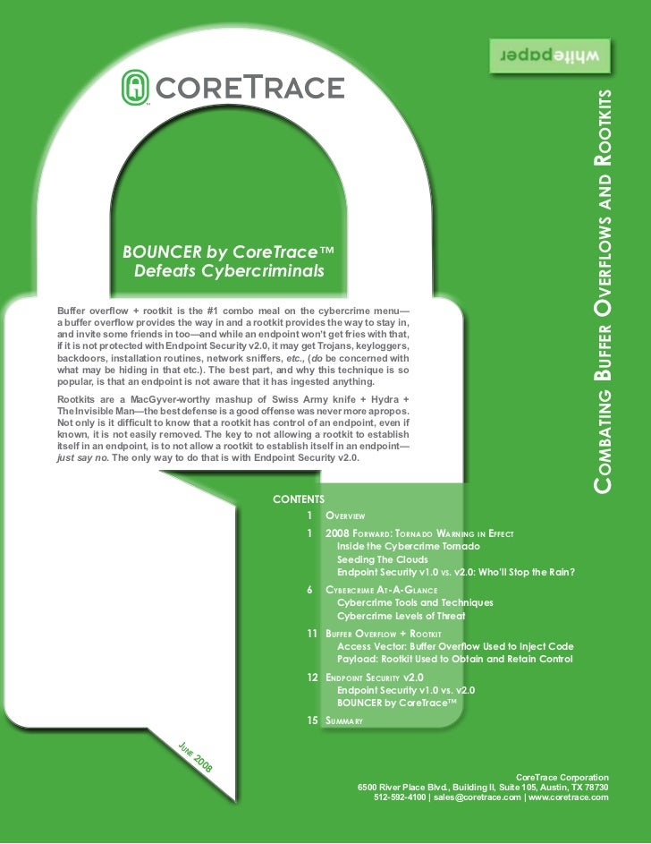 CoreTrace Whitepaper: Combating Buffer Overflows And Rootkits