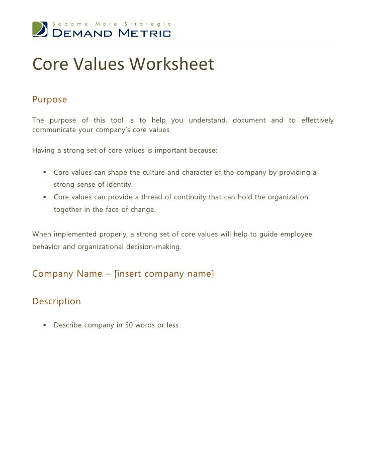 Core Exercise Personal Core Values Exercise