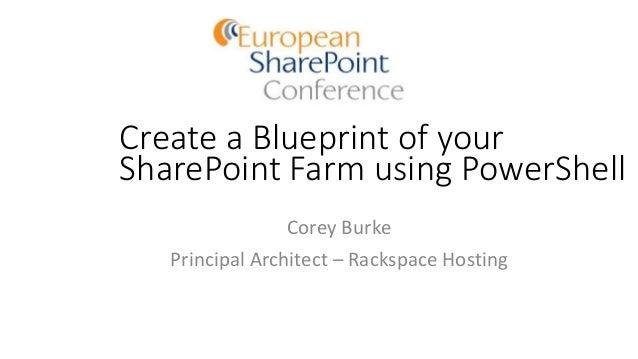 Create a Blueprint of your SharePoint Farm using PowerShell Corey Burke Principal Architect – Rackspace Hosting