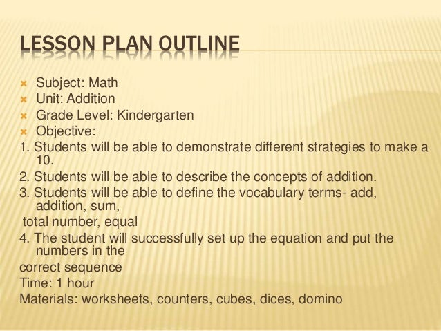 how to write lesson plan for maths