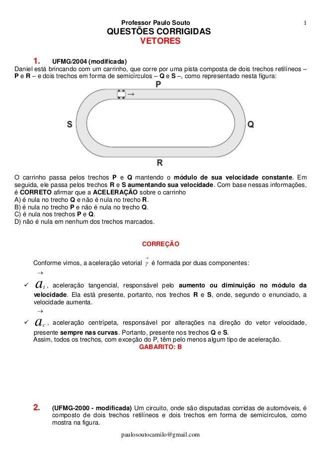 Professor Paulo Souto paulosoutocamilo@gmail.com 1 QUESTÕES CORRIGIDAS VETORES 1. UFMG/2004 (modificada) Daniel está brinc...