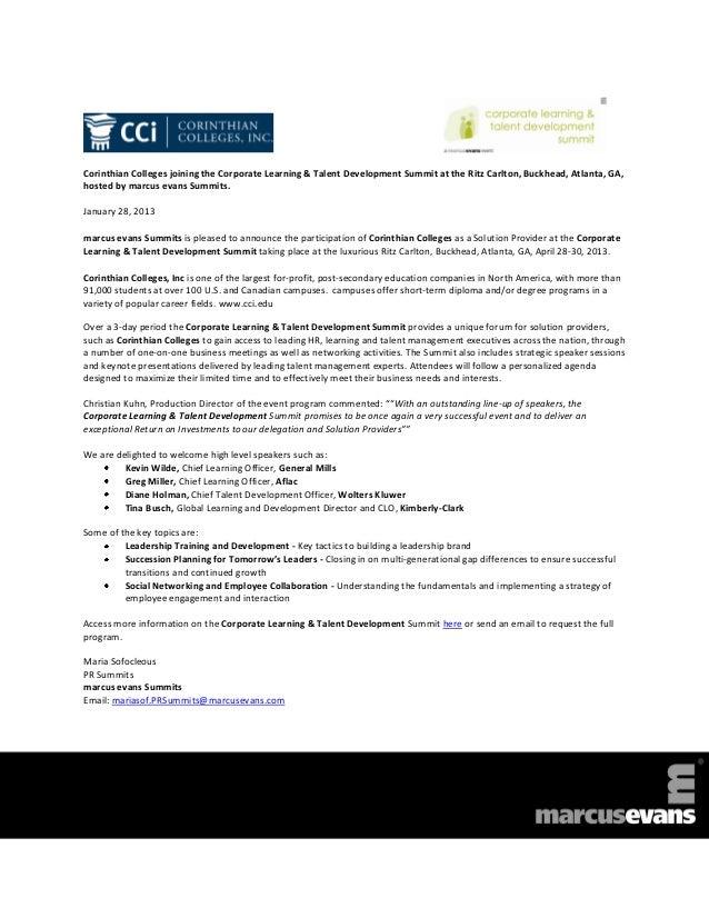 Corinthian Colleges joining the Corporate Learning & Talent Development Summit at the Ritz Carlton, Buckhead, Atlanta, GA,...