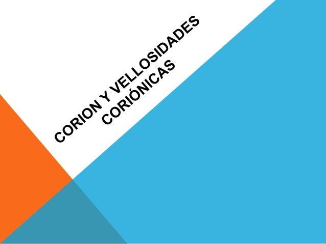 CORION El corion es la membrana fetal que está en contacto directo con el endometrio del útero y que recubre el saco corió...