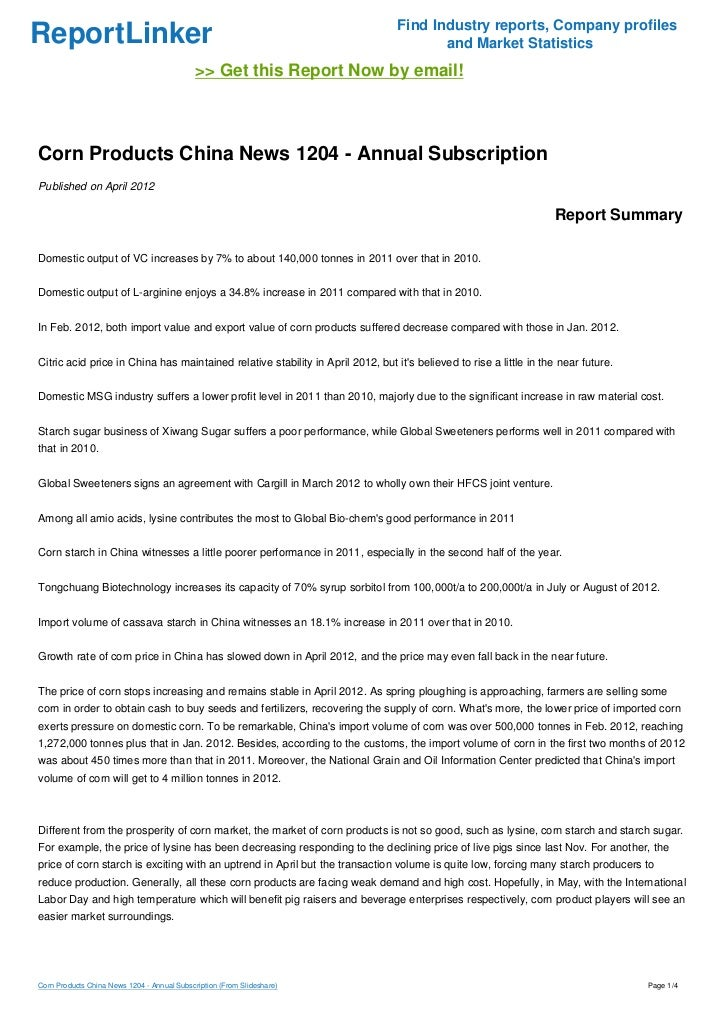Corn Products China News 1204 - Annual Subscription