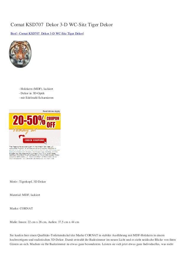Cornat KSD707 Dekor 3-D WC-Sitz Tiger DekorBest!- Cornat KSD707 Dekor 3-D WC-Sitz Tiger Dekor]      - Holzkern (MDF), lack...