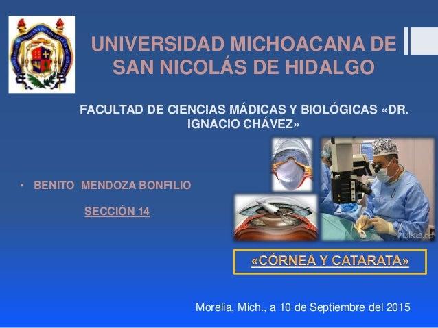 UNIVERSIDAD MICHOACANA DE SAN NICOLÁS DE HIDALGO FACULTAD DE CIENCIAS MÁDICAS Y BIOLÓGICAS «DR. IGNACIO CHÁVEZ» • BENITO M...