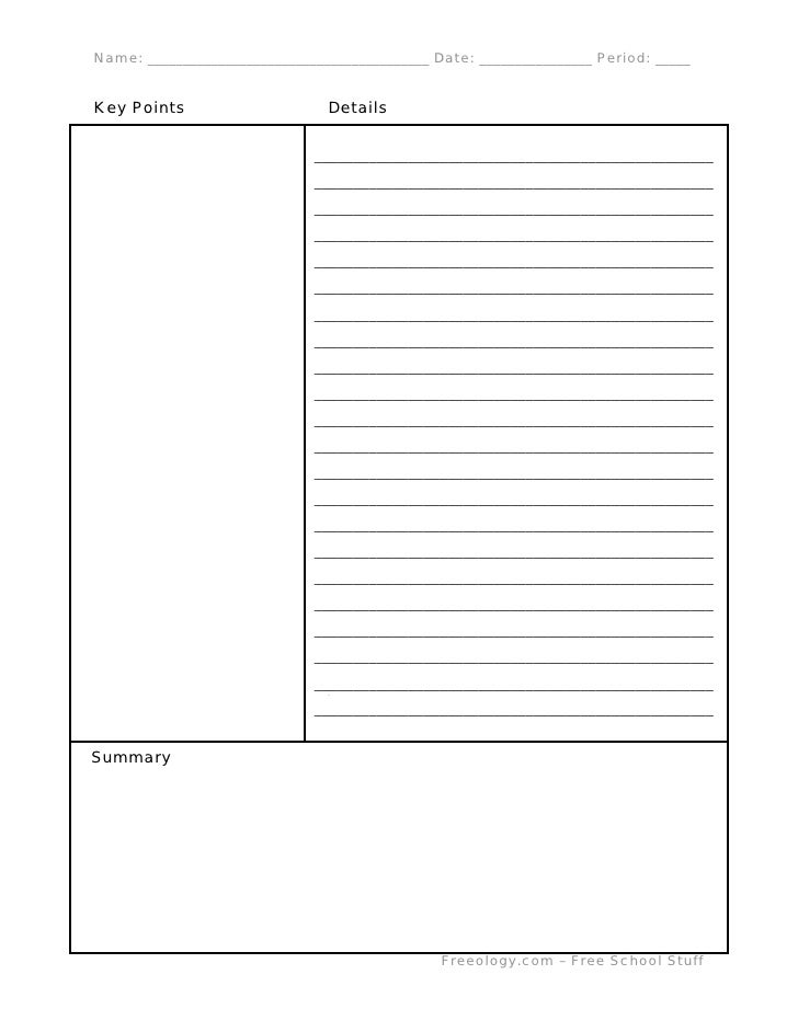 Cornell Notes Template | Gatewaytogiving.Org