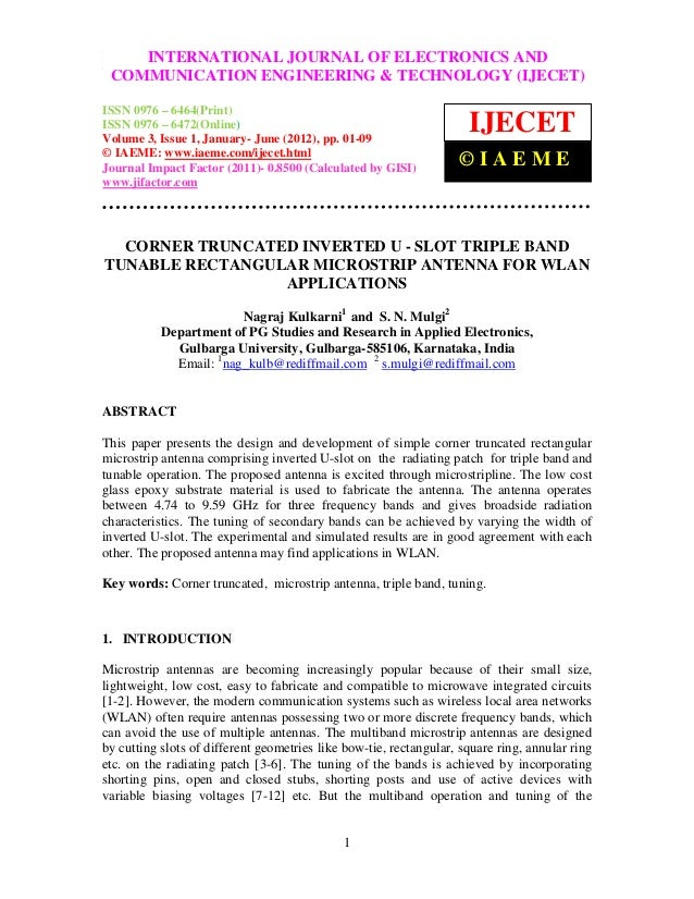 Corner truncated inverted u   slot triple band tunable rectangular microstrip antenna for wlan applications