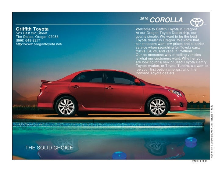 2010                                         COROLLA Griffith Toyota                Welcome to Griffith Toyota in Oregon! ...