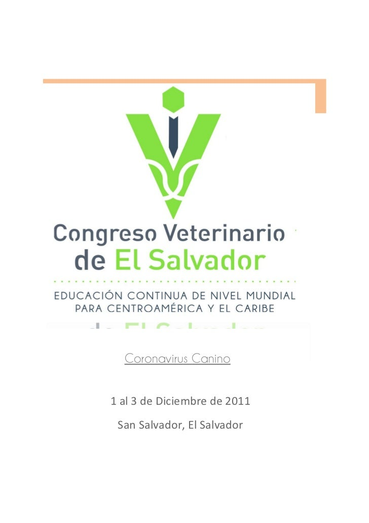 Coronavirus Canino1 al 3 de Diciembre de 2011 San Salvador, El Salvador