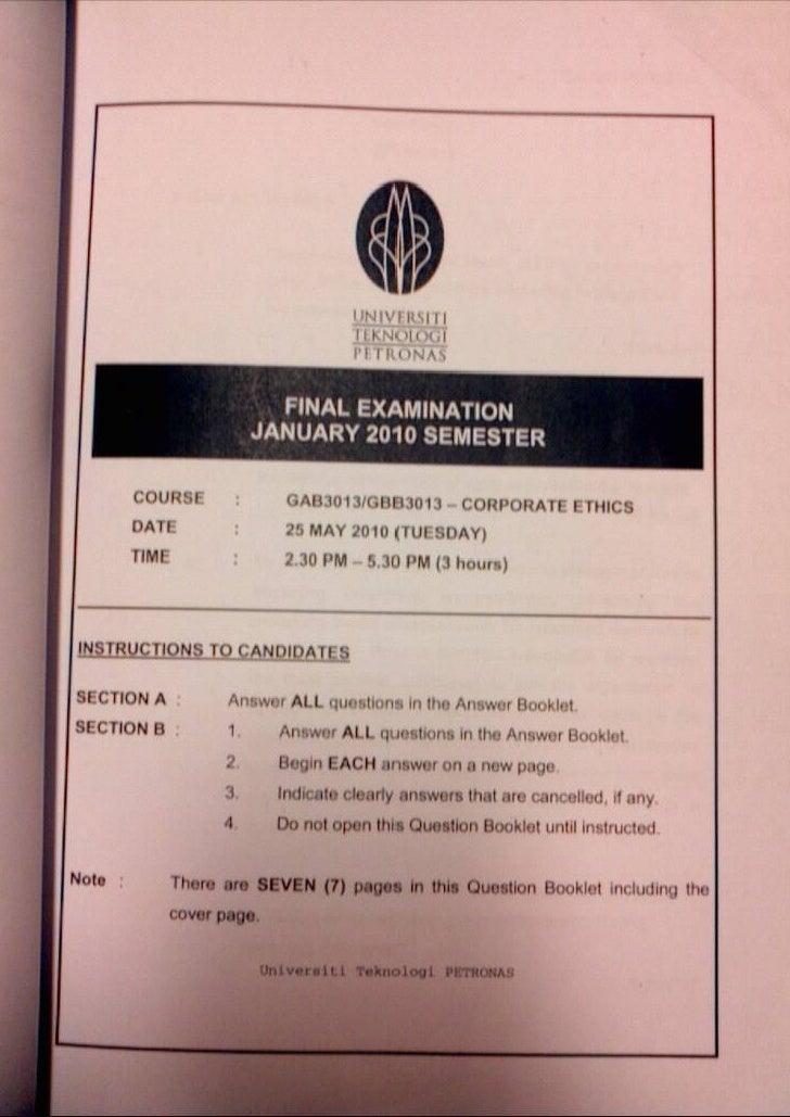 Corporate Ethics January 2010