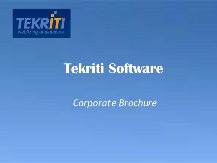 Corporate Brochure Tekriti Software