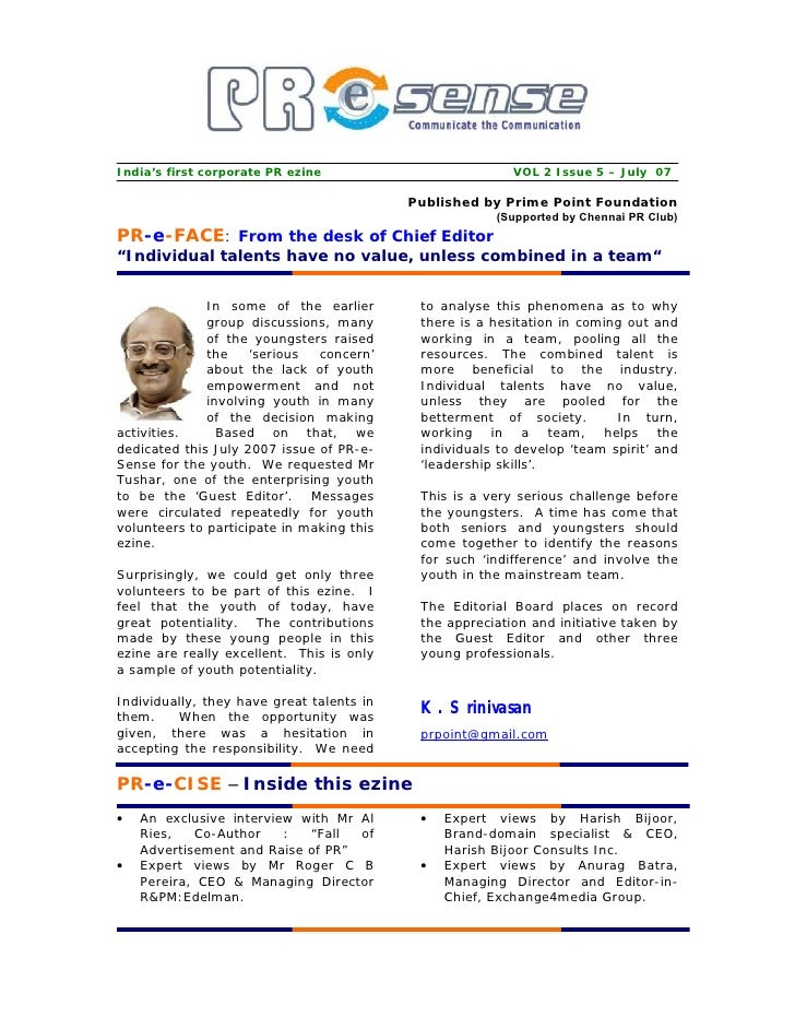 India's first corporate PR ezine                          VOL 2 Issue 5 – July 07                                         ...