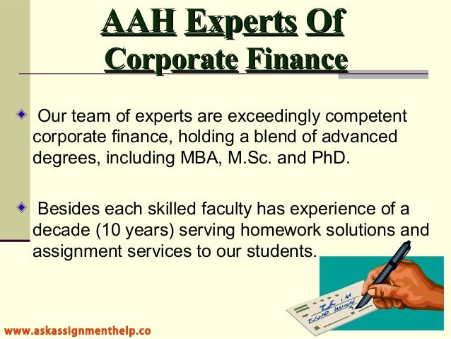 business finance assignment help Business finance assignment help 11-03-17 maddox smith 0 comment this is a solution of business finance assignment help in which we discuss financial analysis of altona mining limited which is a mining company having its operations in australia.