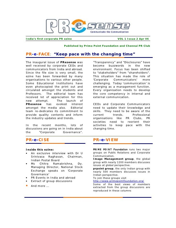 India's first corporate PR ezine                             VOL 1 Issue 2 Apr 06                            Published by ...