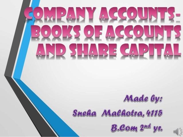 Corporate accounts- share capital