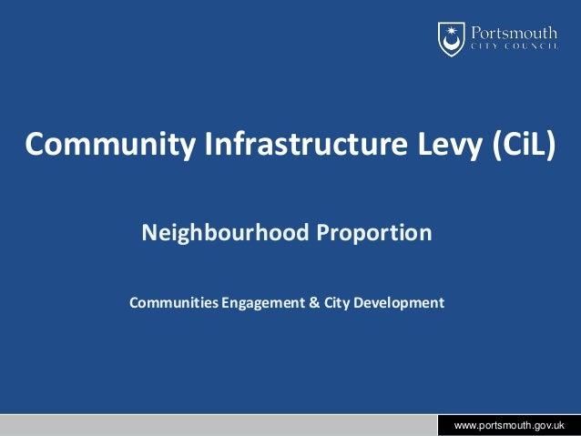 Community Infrastructure Levy (CiL) Neighbourhood Proportion Communities Engagement & City Development  www.portsmouth.gov...