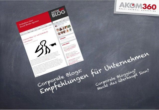 Corporate Blogs: Empfehlungen für Unternehmen