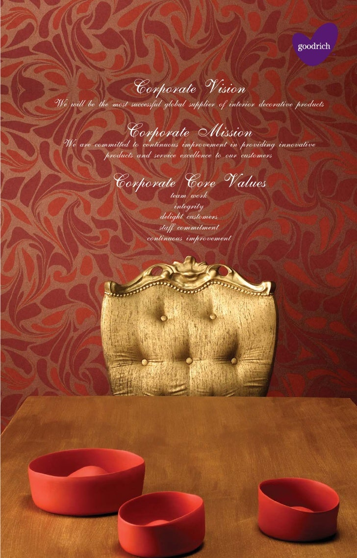 Corporate Vision We will be the most successful global supplier of interior decorative products                      Corpo...