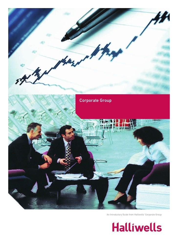Halliwells Corporate Group Brochure
