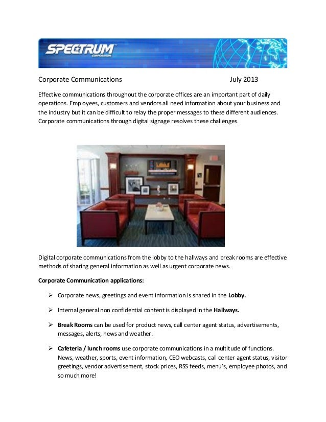 Corporate Communications July 2013 Effective communications throughout the corporate offices are an important part of dail...
