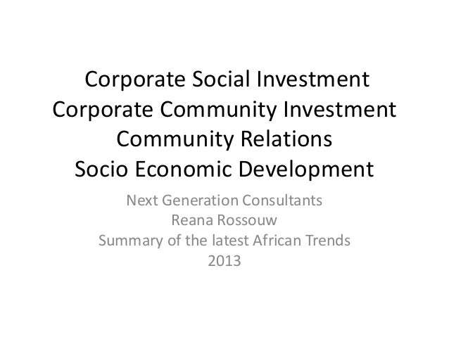Corporate Social Investment Corporate Community Investment Community Relations Socio Economic Development Next Generation ...