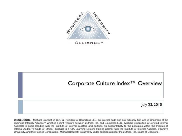 Corporate Culture Index Market Overview 2.0