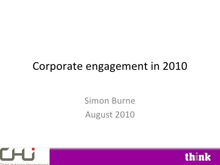 Corporate Engagement In 2010