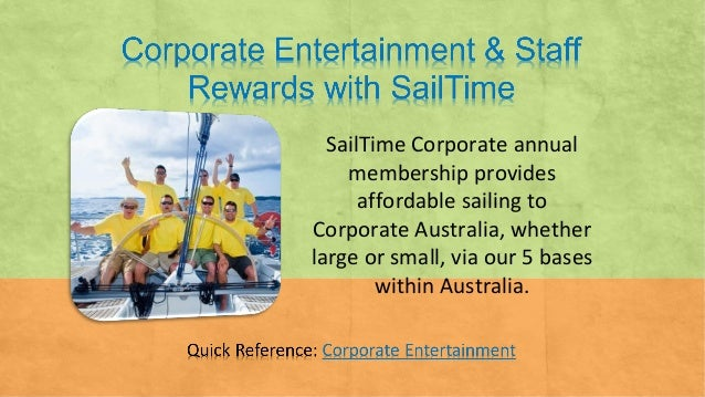 SailTime Corporate annual membership provides affordable sailing to Corporate Australia, whether large or small, via our 5...