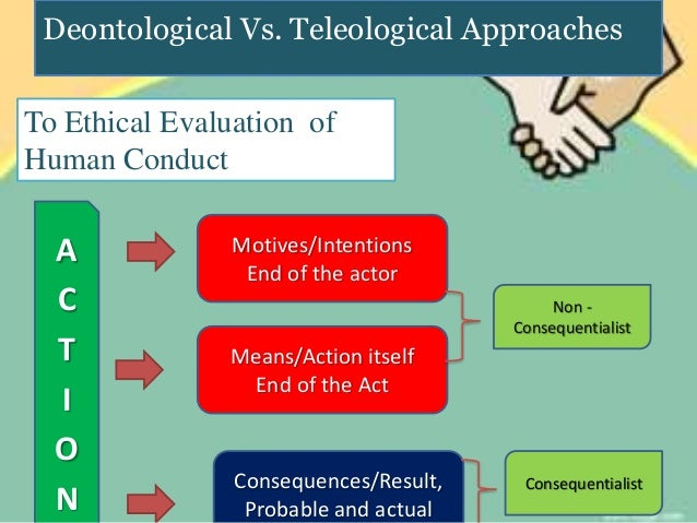 the difference between teleological and deontological The teleological/deontological distinction was introduced in  that between theories that make  tics of teleological and deontological theories.