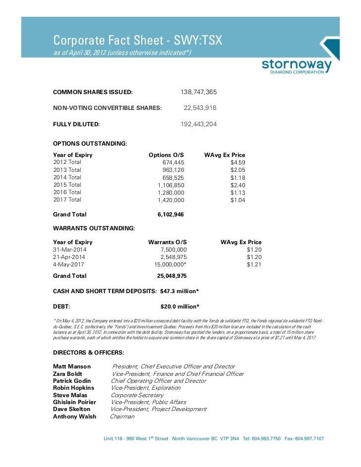 Stornoway Diamonds (TSX.SWY.CA) Corporate Fact Sheet