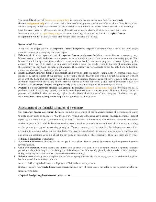 Corporate Finance Assignment Help | Assignment Help