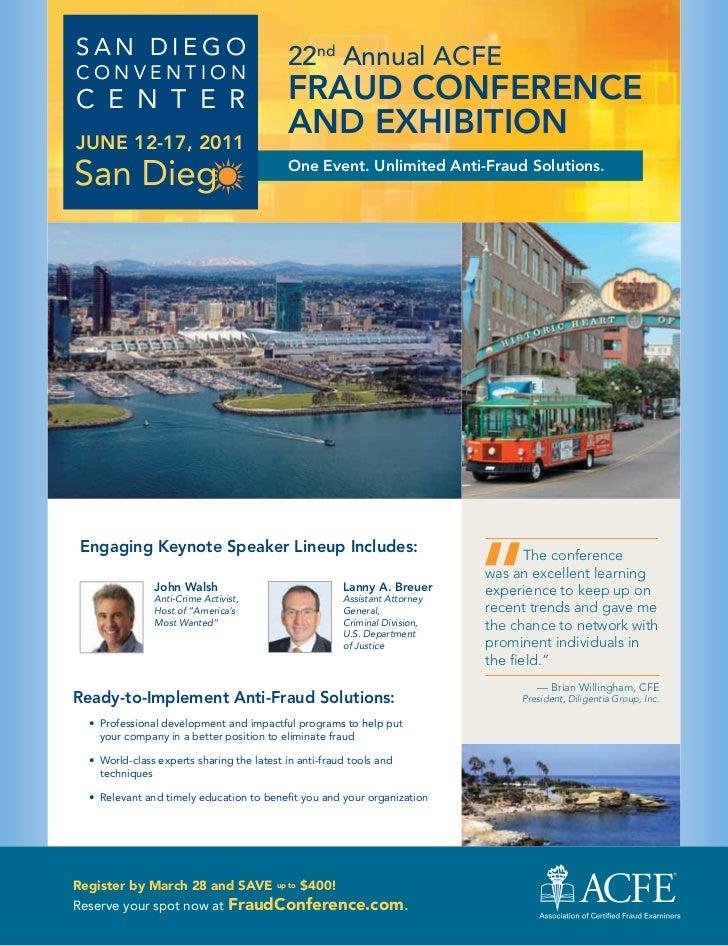 San Diego                                   22nd Annual ACFEConventionC e n t e r                                 FraUd Co...