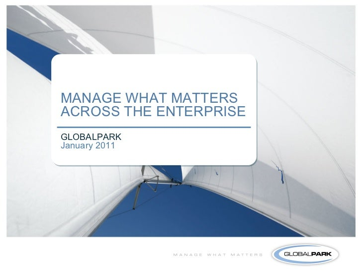 MANAGE WHAT MATTERSACROSS THE ENTERPRISEGLOBALPARKJanuary 2011