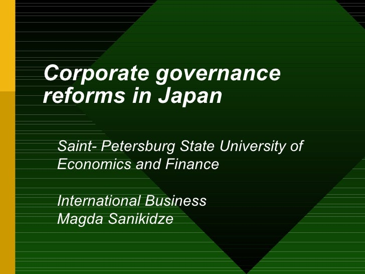 corporate governance in japan The council of experts concerning the corporate governance code (hereafter, the council) (chairman: kazuhito ikeo, professor of economics and finance, keio university) was established in august, 2014 and had met nine times since then to draft their proposal regarding corporate governance.