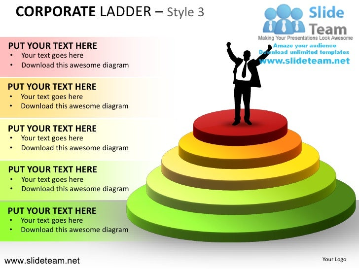 CORPORATE LADDER – Style 3PUT YOUR TEXT HERE •   Your text goes here •   Download this awesome diagramPUT YOUR TEXT HERE •...