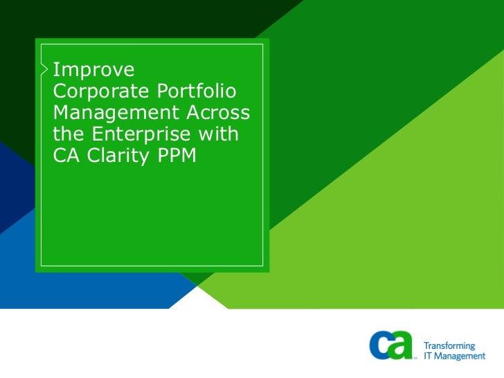 Corporate Portfolio Management with CA Clarity