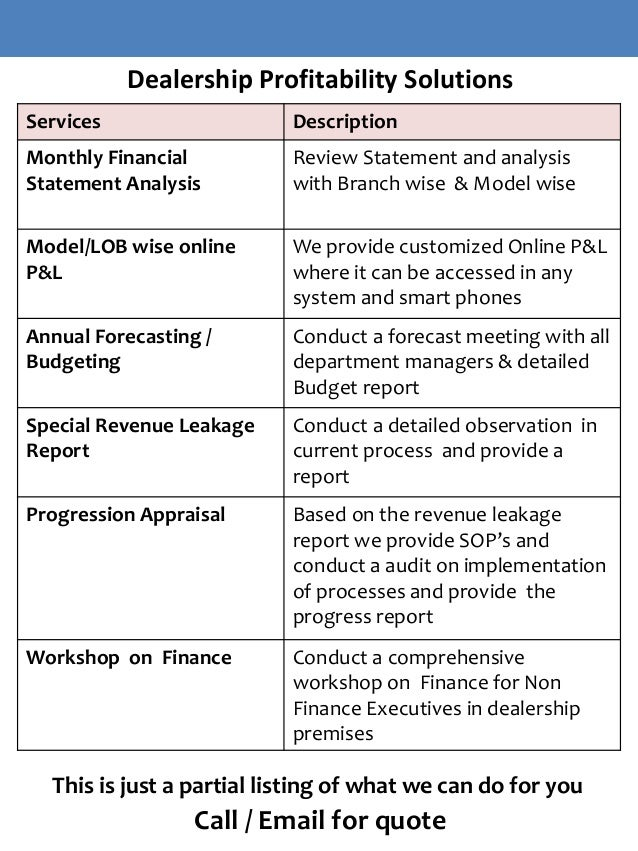 Automobile dealership business plan