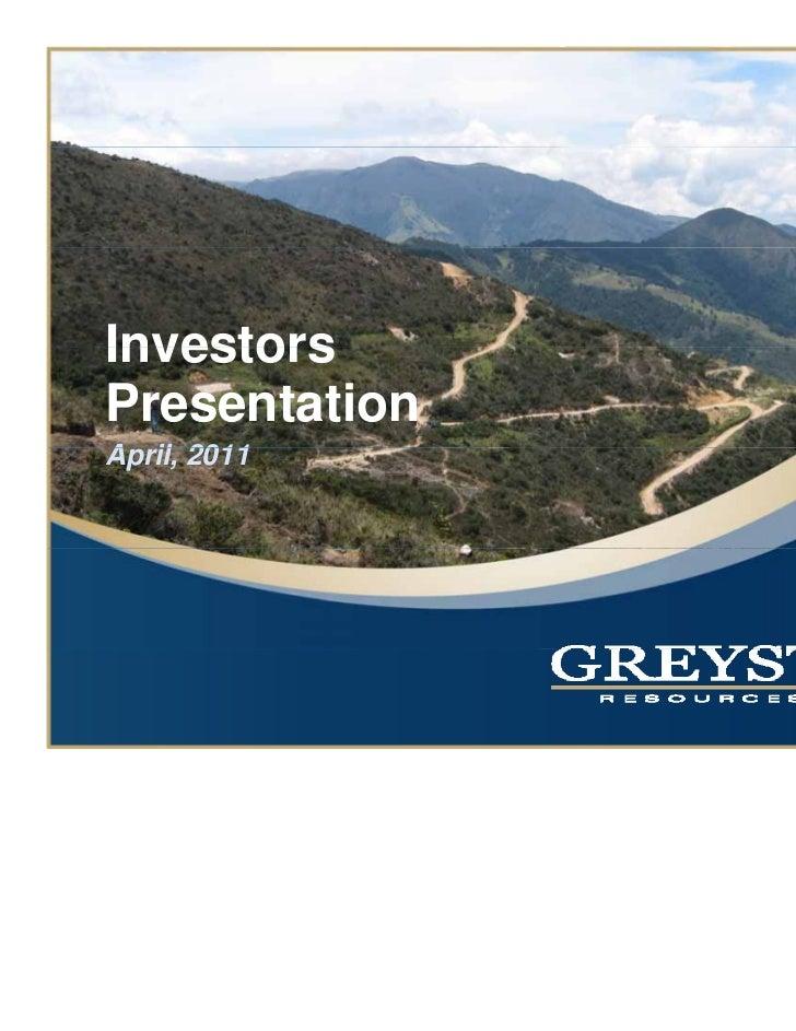 InvestorsPresentationApril,A il 2011