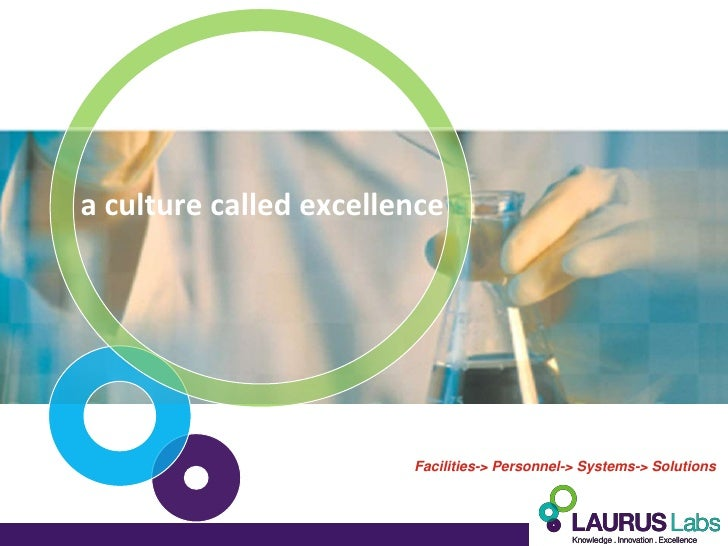 a culture called excellence                        Facilities-> Personnel-> Systems-> Solutions