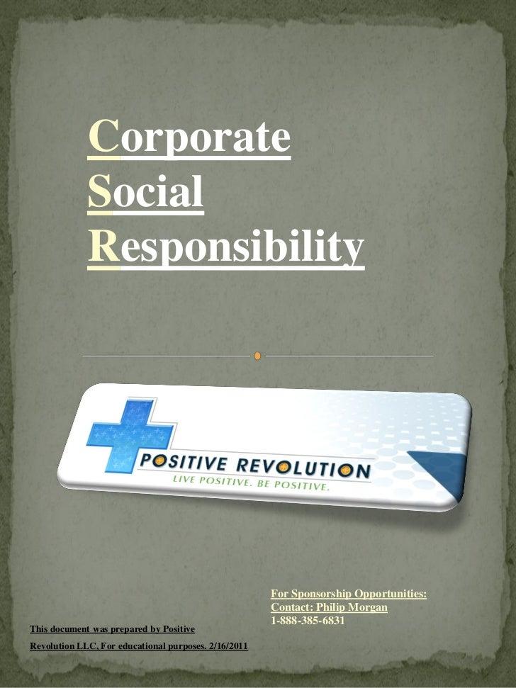 Corporate Responsibility Report Positive Revolution